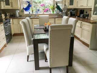 cream leather dining chair set