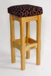 fabric topped square stool