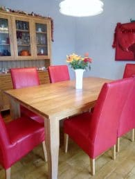 red leather dining chairs