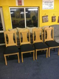 wooden notched back dining chairs